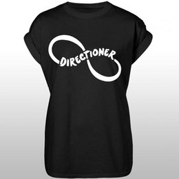 Wholesale One Direction Black - Wholesale- Directioner One Direction Print Women T shirt Casual Cotton Hipster For Funny Top Tee White Black Plus Size Drop Ship HH305-108
