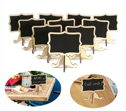 Wholesale Wooden Stand Decoration - 10Pcs Pack Mini Lace Blackboard Chalkboard Wooden Blackboard Price Stand For New Year Party Christmas Wedding Decoration