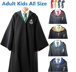 Wholesale Green Cape Costume - Harry Potter Cosplay Costumes Cloak Cape Gryffindor Slytherin Hufflepuff Ravenclaw Robe&Tie Adult Kids for Christmas gift