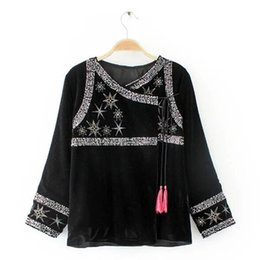 Wholesale Vintage Sequin Cardigan - Wholesale- Ethnic Spliced Sequins Embroidery Stars Tassels Velour Jacket Vintage New Woman Ribbons Loose Kimono Cardigan Coat Sunscreen