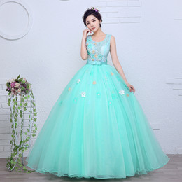 Wholesale Green Colored Wedding Dresses - Lace With Flower Organza Colored wedding dress 2017 New Spring and Summer Korean Style Green Princess Gowns vestido de noiva