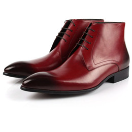 Wholesale Rainboots Male - 2016 New Spring  Autumn Fashion Pointed Toe Men's Short boots Genuine Leather Male Boots Brief Commercial Dress Boots For Men