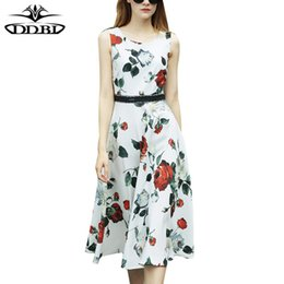 Wholesale Sleeveless Bohemian Beach Tank Dress - woman beach dress jurkjes roses print white dress tank fit and flared dresses flowers print 2017 high quality 170602