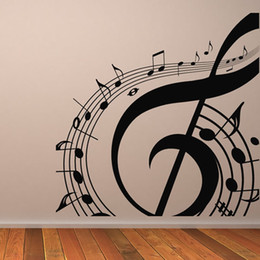 Wholesale Free People Decorations - M-003 Free Shipping DIY Musical Notation Home Decor Music Wall Sticker Removable Vinyl Guitar Music Decal Babys Room Home Decoration
