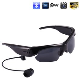 Wholesale Bluetooth Spy Camera Hd - HD 1080P Bluetooth Sunglasses Spy Camera Video Recorder Sports Camcorder Glasses Headset for Smartphone Polarized Sunglasses DVR