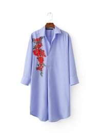 Wholesale Loose Work Blouse - Design 2017 women elegant red flower appliques striped shirt embroidered blouse work wear ol slim loose tops blusas