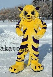 Wholesale Mascot Costume Animal Cat - Wild Cat Yellow Tiger Mascot Costume for Halloween christmas Party Costume Animal costume suit Outfit
