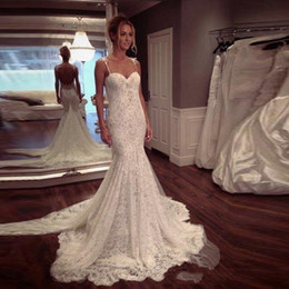 Wholesale Sexy Mermaid Tail Wedding Dresses - Spaghetti Straps Mermaid Lace Wedding Dresses 2017 Sexy With Fish Tail Sweetheart Back Sweep Train Princess Bridal Gowns