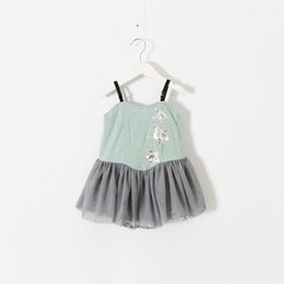 Wholesale Stars Suspender - Everweekend Girls Lace Stars Patchwork Halter Dress Ruffles Sweet Children Summer Clothing Western Princess Baby Party Dress