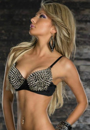 Wholesale Disco Bra - Sexy Rivet Bra Party Disco All-over Spike Stud Embellished Bras Metallic Punk Dance Bra C D Cup For Women