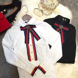 Wholesale Casual Chiffon Blouses - 100% cotton ladys diamante t shirts long sleeve pearl button blouse big bowknot casual women shirt tops Femme