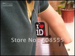 "Wholesale One Direction Dog Tags - I love 1D dog tag necklace, One Direction Dog Tag with 24"" ball chain, Silicon dog tag, 4colours, 50"