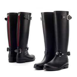 Wholesale Ladies Hunting - PVC Women Rain Boots Girls Ladies Rubber Shoes For Casual Walking Hunting Hunter Outdoor Mid-calf Waterproof Female Half Heels