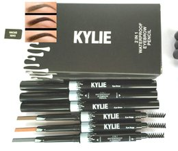 Wholesale End Brush - Newest Makeup NEW KYLIE 2 IN 1 Waterproof Eyebrow Pencil Makeup Skinny Brow Pencil g DOuble ended with eyebrow brush 3 Color DHL