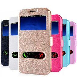 Wholesale Iphone 5s Flip Window - Colorful Double Window View Flip Wallet Design Leather Case For iPhone 5s 7 6 6s Plus Samsung s7 s7 Edge s6 s6 Edge