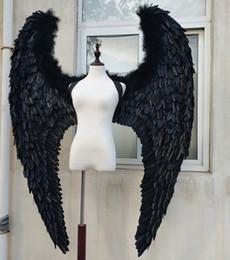 Canada Grandes ailes de plume du diable noir de l'adulte pour le défilé de la scène modèle Affiche les accessoires de tir accessoires de mode Pure handmade Offre