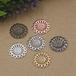 08093 20mm antique bronze / argent / or rose / pistolet charmes de fleur en filigrane noir pour la fabrication de bijoux, BEAD CAP diy bracelet en métal pendentifs ? partir de fabricateur