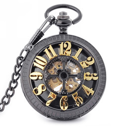 Wholesale Manual Pocket Watch - Retro Black Case Pocket Watches Gold Arabic Numerals Skeleton Back Case Mens Mechanical Manual Winding Pocket Watch
