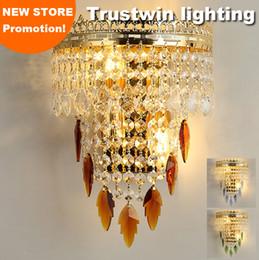 luzes de passo modernas Desconto Braço de parede europeu LEVOU opcional clássico do vintage K9 foyer de cristal que vive decorativo lâmpada de parede de ouro arandela de cristal luz de parede