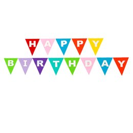 Wholesale Baby Boy Bunting Banner - Wholesale- 3M Happy Birthday Pennant Flags Bunting Banner Garlands Colorful Non-woven For Kids Boy Girl Baby Party Shower Home Decoration