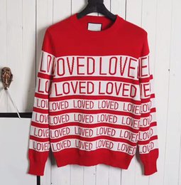 Wholesale Thin Crochet - Autumn and winter new two-color stripe knitting LOVED letters o-neck sets of sweaters men and women unified style luxury brand