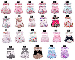 Wholesale Flower Bottle Champagne - 23 Style Baby Girls Shorts Flower Bowknot Shorts+Buny Ear Headband Summer Bow Toddler 2pcs Suits Cute Printed Infant Clothes Set C478