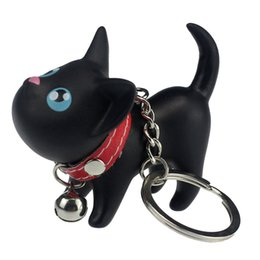 Wholesale Cute Couple Toys - Meow doll keychain Cat Kitten Keyring Bell Toy couple Lover Key Chain Rings For Handbag cute gift #EE