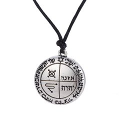 Wholesale Wicca Amulet - The Third Pentacle of Jupiter Seal of Solomon King Wicca Amulet Message Letter Pendant Mens Necklace God Plated Jewelry