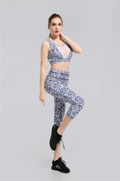 Wholesale Red Top Xl - 2017 New Black Red geometry printing Yoga Top & Pants Women Sport Yoga Sets Sportswear Fitness Gym Clothes Ladies Free Drop Shipping lymmia