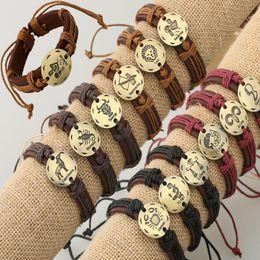 Wholesale Cheap Zodiac Bracelet Charms - Fashion Leathr Man Bracelet 12 Constellation Horoscope Bracelet Bangles Vintage Jewelry for men Wholesale Cheap Price Promotion
