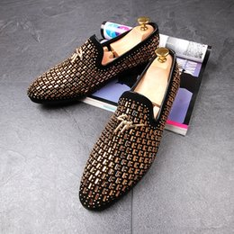 Wholesale Smoking Shoes - Fashion Men's Handmade Black Gold Rhinestone Party Wedding Leather Shoes Men Casual Flats Loafers Smoking Slipper Shoes