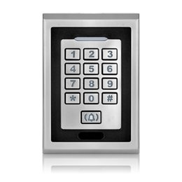 Wholesale Rfid Reader Keypad - Wholesale- Free shipping silver metal access control keypad waterproof smart card reader for rfid door access control system digital lock