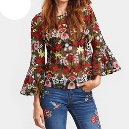 Wholesale Mesh Blouses - Hot Women Shirts 2017 Sexy See Through Mesh Blouses Loose Flare Sleeve O Neck Floral Embroidery Summer Tops Chemise Femme