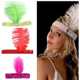 Wholesale Headband Beauty - Hair Beauty Headband Flapper New Fashion Fancy Feather Headband Flapper Sequin Costume Hair Band Dancing Party Hairband Free Shipping