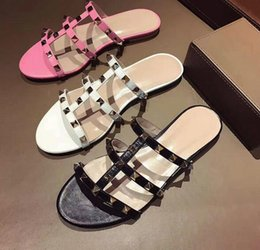 Wholesale Gladiator Flip Flops - Summer Pink White Leather Open Toe Women Slippers Casual Style Flat Bottom Women Sandals Studded Rivets Gladiator Sandals