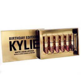 Wholesale Matte Box Kit - Kylie Lip Kit Lipstick AAA 6 Golden Box Gloss Suits Makeup Birthday Editon Matte Nice Cosmetics Health Beauty 2017 Newest Jenner lipgloss