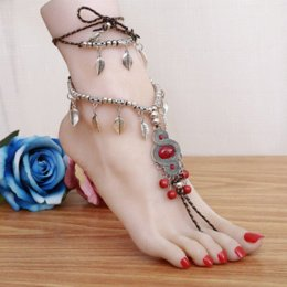Wholesale Ethnic Sandals - Ethnic Barefoot Sandals Beach Anklets Red Turquoise Beads Summer Anklets Bracelets Long Tassel Foot Chain Jewelry Stretch