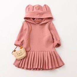 Wholesale Girls Hooded Dress - 2017 Autumn Girls Dress Baby Girls Rabbit Ears Hooded Long Sleeve Dress Children Clothing 2-6Y AZ1080