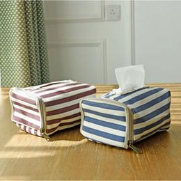 Wholesale Canvas Decorating Bags - Wholesale- 2 Colours Stripe Tissue Box For Car Zipper Canvas Decorating Bags Storage Bags Sundries Bag Desktop Tissue Box Storage Organizer