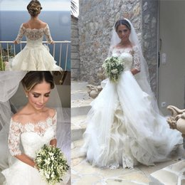 Wholesale Tires Tulle Dresses - 2017 Elegant Off Shoulder Wedding Dresses Ball Gown 1 2 Sleeve Tulle Tired Bridal Gowns Pleats Draped Robe De Mariage WB