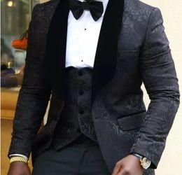 Wholesale Tuxedo Bow Tie Styles - Brand Floral Groomsmen Big Shawl Lapel Groom Tuxedos Custom Made 4 Styles Prom Men Suits Wedding Best Man Blazer (Jacket+Pants+Vest+Bow Tie)