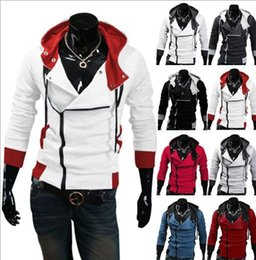 Wholesale Sweater Assassins - Plus Size M-6XL NEW HOT Men's Slim Personalized hat Design Hoodies & Sweatshirts Jacket Sweater Assassins creed Coat 2017new style