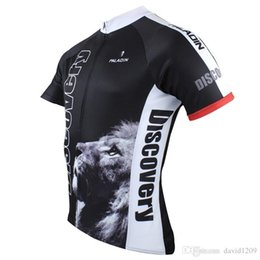 Wholesale Bicycle Wear Men - 2017 Black Men's Short Sleeve Cycling Jersey Bike Sport wear Bicycle Clothing Breathable ciclismo ropa Discovery Lion