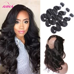 Wholesale Hair Extensions Full Lace Closure - Brazilian Virgin Human Hair Weaves Body Wave 3 Bundles With 360 Full Lace Frontal Closure 8A Peruvian Indian Malaysian Remy Hair Extensions