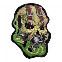 máscara para el humo Rebajas Correa Eyed Green Smoke Skull Patch, gas máscara de hierro bordado de hierro en coser o parches 3.75 * 5 PULGADAS envío gratis
