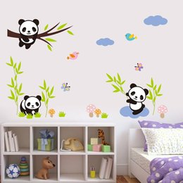 Wholesale Kids Wall Stickers China - lovely naughty baby pandas China wall stickers kids gift room home decor diy animals decals mural art pvc cartoon posters 1310.