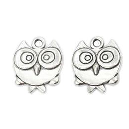 Wholesale Tibetan Owl Necklace - Wholesale- 20pcs Tibetan Silver Plated Bird Owl Charms Pendants for Bracelet Necklace Jewelry Making DIY Handmade Craft 17x15mm D305