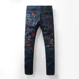 Wholesale Hip Hop Jeans For Sale - Hot Sale Mens Distressed Ripped Skinny Jeans Brand Designer Men's Motorcycle Moto Biker Denim US Size 29~42 Hip Hop Punk Pants for men 963