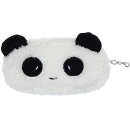 Wholesale Cute Plush Pencil Case - Wholesale- Modern Design Cute Style Panda Soft Plush Pencil Case Pen Pocket Cosmetic Makeup Bag Coin Purse Wallet Pouch Top Quality
