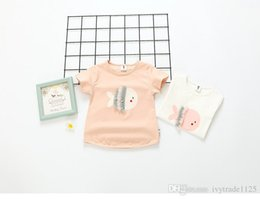 Wholesale Kids Fishing Shirts Wholesale - 2017 INS NEW ARRIVAL Girls Kids t shirt short sleeve O-neck cute fish style kid causal shirt baby kid casual T shirt 2 colors